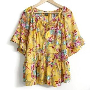 Chelsea & Theodore Floral Boho Blouse A12-497